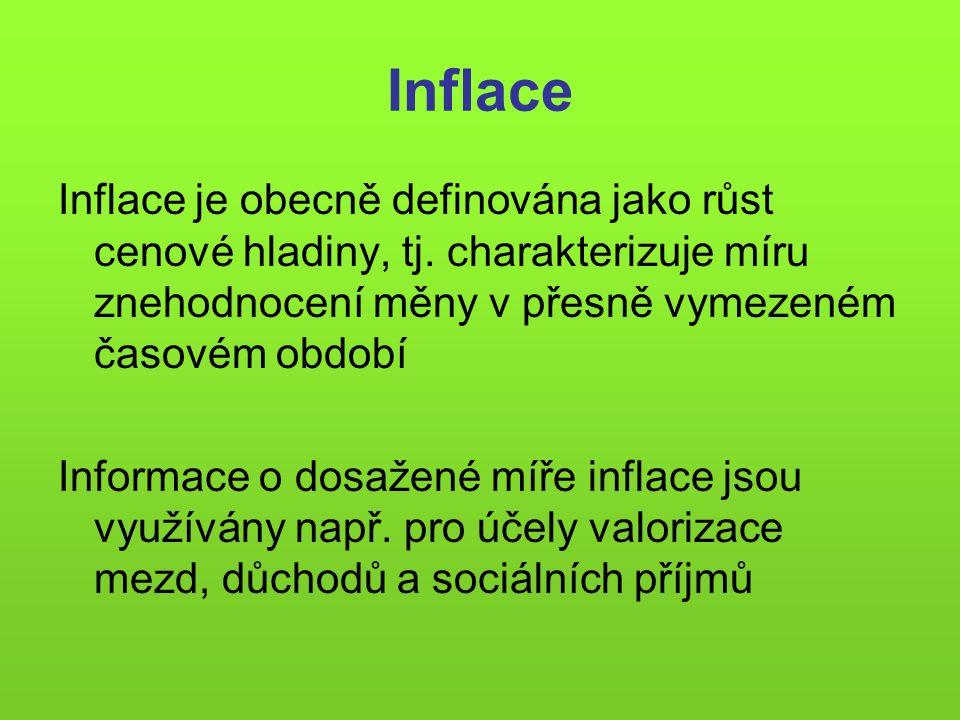 Inflace Inflace je obecně definována jako růst cenové hladiny, tj. charakterizuje míru znehodnocení měny v přesně vymezeném časovém období Informace o