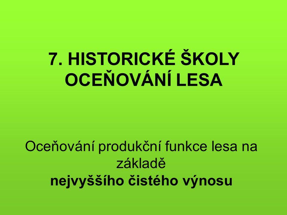 Oceňování produkční funkce lesa na základě nejvyššího čistého výnosu 7. HISTORICKÉ ŠKOLY OCEŇOVÁNÍ LESA