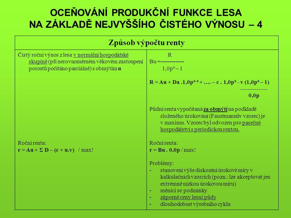 OCEŇOVÁNÍ PRODUKČNÍ FUNKCE LESA NA ZÁKLADĚ NEJVYŠŠÍHO ČISTÉHO VÝNOSU – 4 Způsob výpočtu renty Čistý roční výnos z lesa v normální hospodářské skupině (při nerovnoměrném věkovém zastoupení porostů počítáno parciálně) s obmýtím u Roční renta: r = Au + Σ D – (c + u.v) / max.