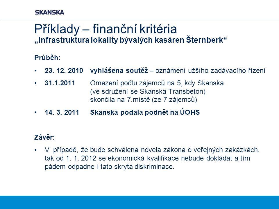 """Příklady – finanční kritéria """"Infrastruktura lokality bývalých kasáren Šternberk"""" Průběh: 23. 12. 2010vyhlášena soutěž – oznámení užšího zadávacího ří"""