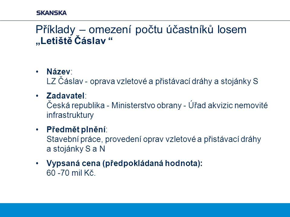 """Příklady – omezení počtu účastníků losem """"Letiště Čáslav """" Název: LZ Čáslav - oprava vzletové a přistávací dráhy a stojánky S Zadavatel: Česká republi"""