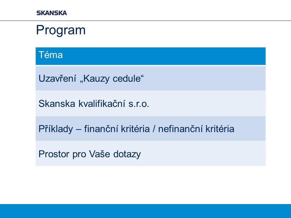 """Program Téma Uzavření """"Kauzy cedule Skanska kvalifikační s.r.o."""