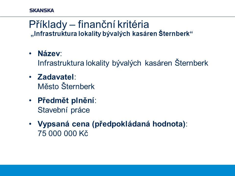 """Příklady – finanční kritéria """"Infrastruktura lokality bývalých kasáren Šternberk"""" Název: Infrastruktura lokality bývalých kasáren Šternberk Zadavatel:"""