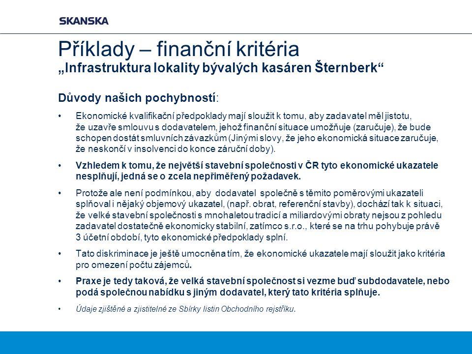 """Příklady – finanční kritéria """"Infrastruktura lokality bývalých kasáren Šternberk Důvody našich pochybností: Ekonomické kvalifikační předpoklady mají sloužit k tomu, aby zadavatel měl jistotu, že uzavře smlouvu s dodavatelem, jehož finanční situace umožňuje (zaručuje), že bude schopen dostát smluvních závazkům (Jinými slovy, že jeho ekonomická situace zaručuje, že neskončí v insolvenci do konce záruční doby)."""