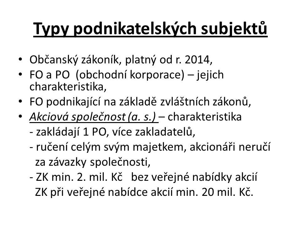 Typy podnikatelských subjektů Občanský zákoník, platný od r.