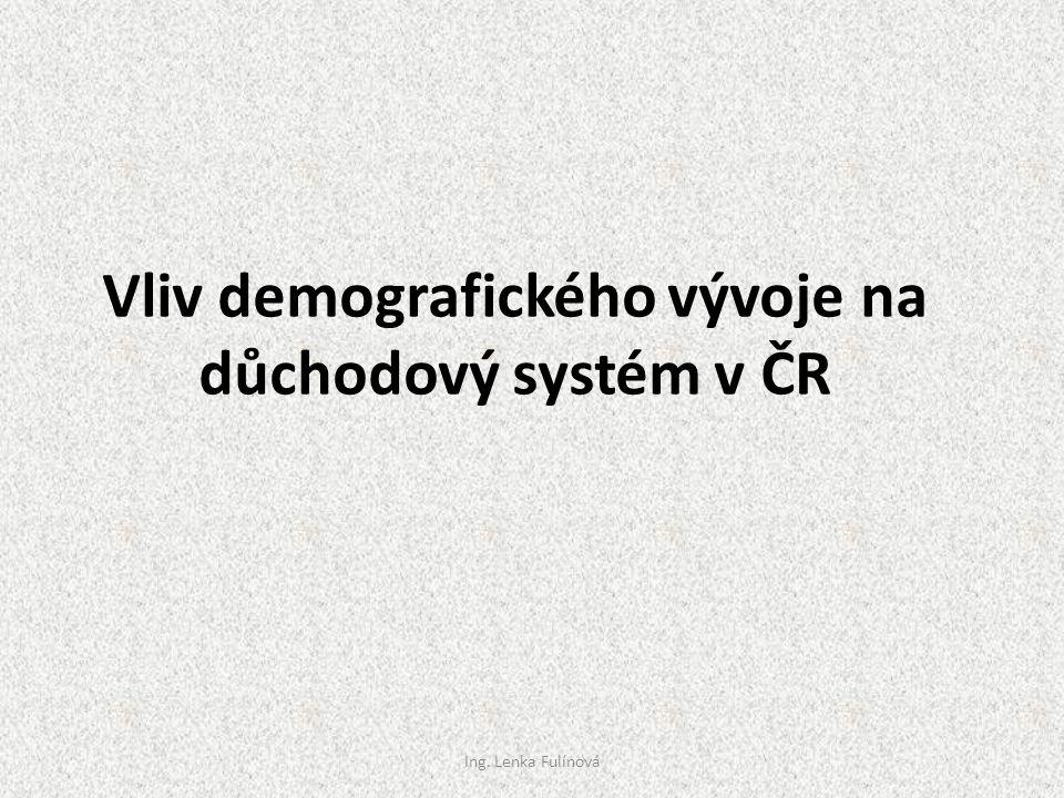 Vliv demografického vývoje na důchodový systém v ČR Ing. Lenka Fulínová