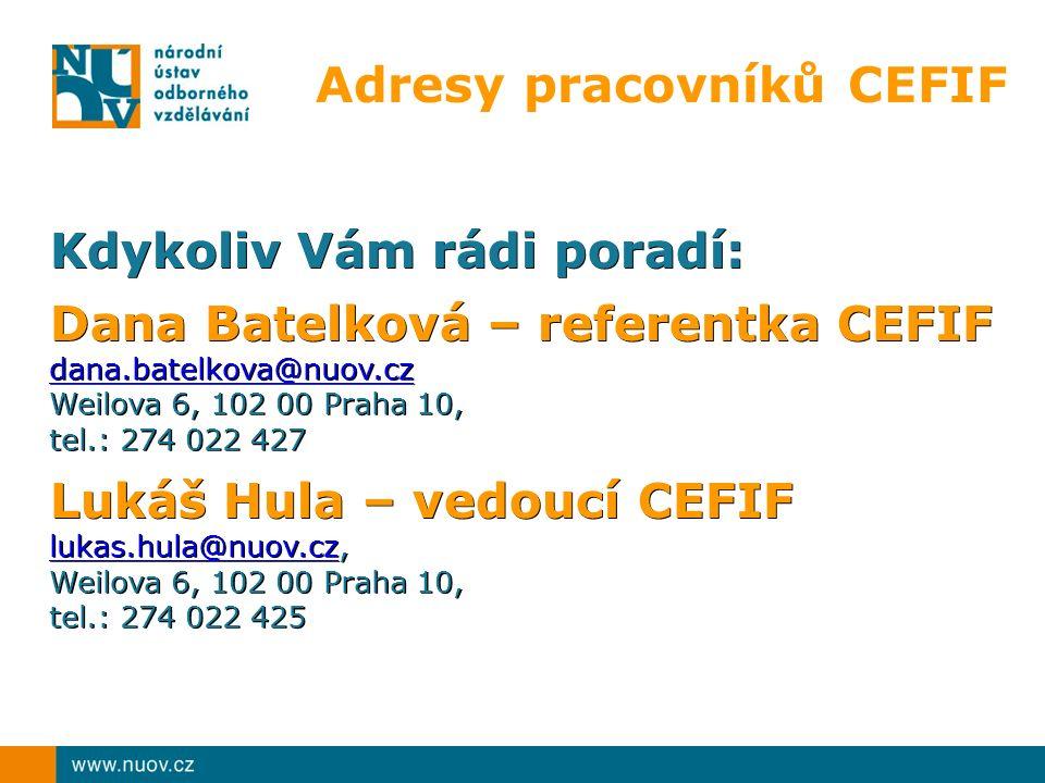 Adresy pracovníků CEFIF Kdykoliv Vám rádi poradí: Dana Batelková – referentka CEFIF dana.batelkova@nuov.cz Weilova 6, 102 00 Praha 10, tel.: 274 022 4