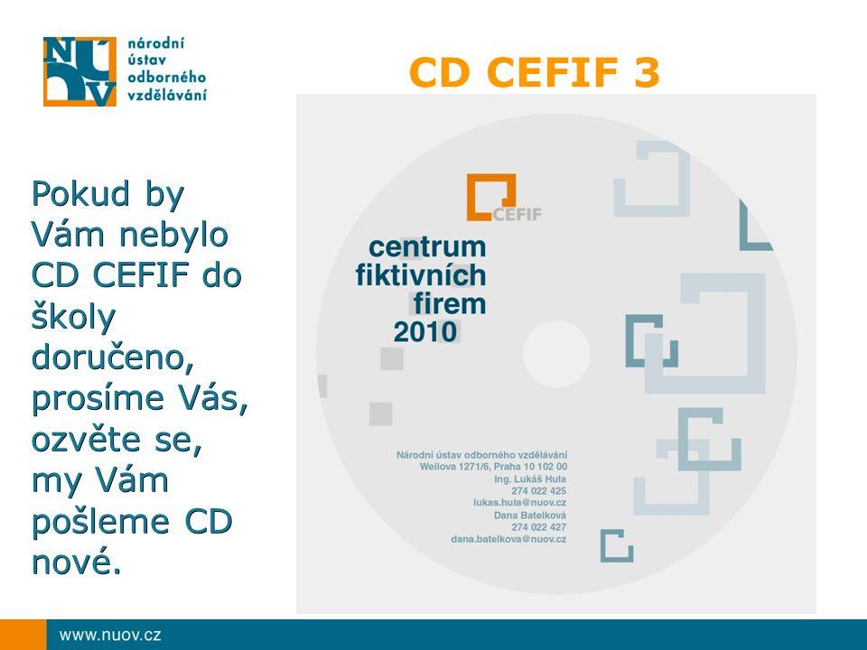 CD CEFIF 3 Pokud by Vám nebylo CD CEFIF do školy doručeno, prosíme Vás, ozvěte se, my Vám pošleme CD nové.