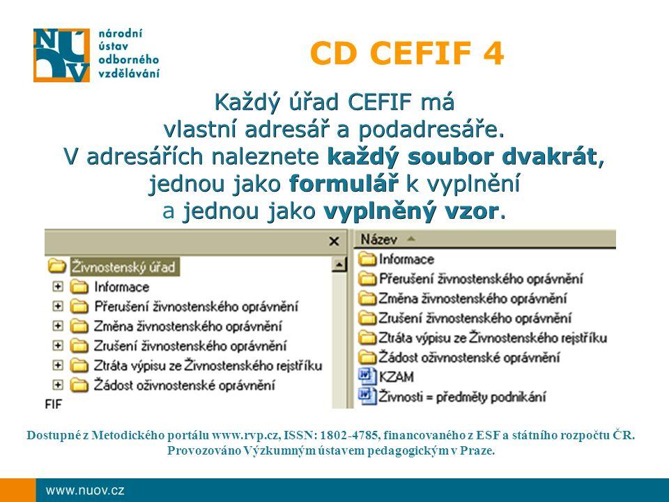 CD CEFIF 4 Každý úřad CEFIF má vlastní adresář a podadresáře. V adresářích naleznete každý soubor dvakrát, jednou jako formulář k vyplnění jednou jako