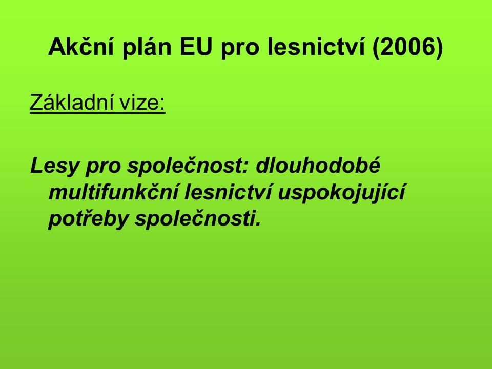 Akční plán EU pro lesnictví (2006) Základní vize: Lesy pro společnost: dlouhodobé multifunkční lesnictví uspokojující potřeby společnosti.