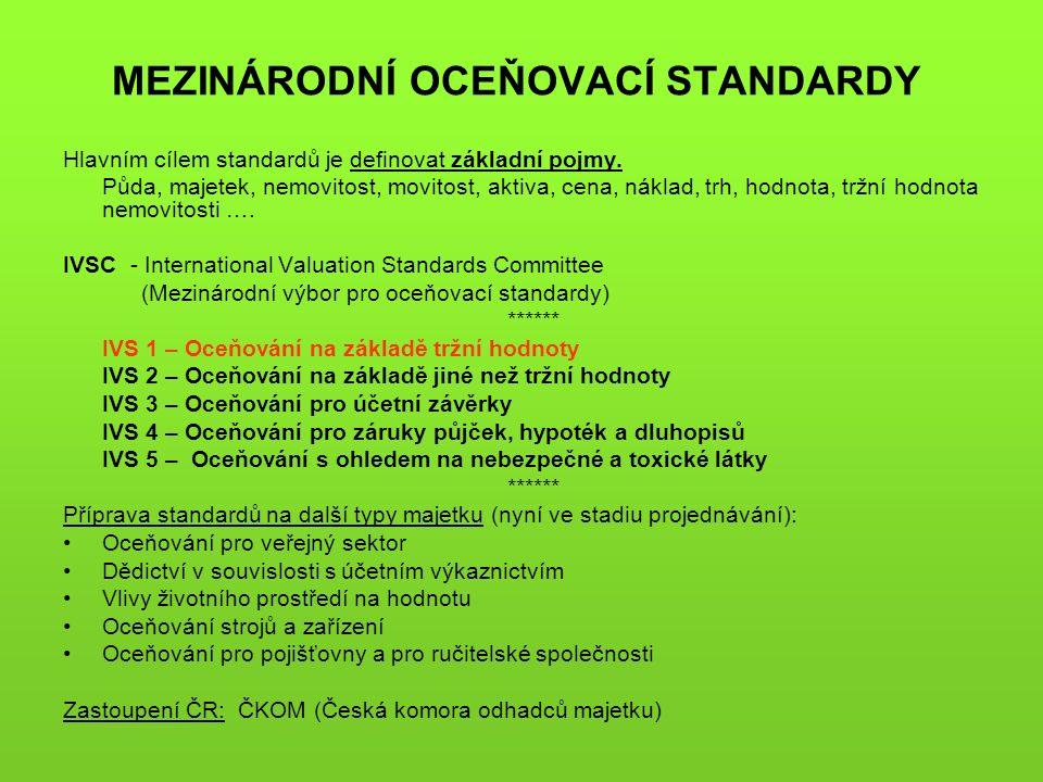 MEZINÁRODNÍ OCEŇOVACÍ STANDARDY Hlavním cílem standardů je definovat základní pojmy. Půda, majetek, nemovitost, movitost, aktiva, cena, náklad, trh, h