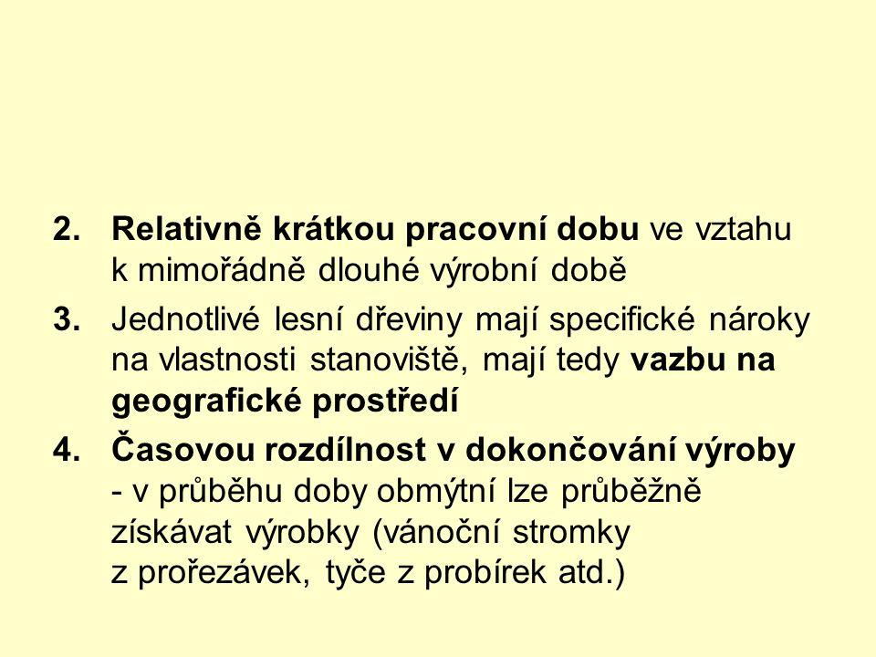 2.Relativně krátkou pracovní dobu ve vztahu k mimořádně dlouhé výrobní době 3.Jednotlivé lesní dřeviny mají specifické nároky na vlastnosti stanoviště, mají tedy vazbu na geografické prostředí 4.Časovou rozdílnost v dokončování výroby - v průběhu doby obmýtní lze průběžně získávat výrobky (vánoční stromky z prořezávek, tyče z probírek atd.)