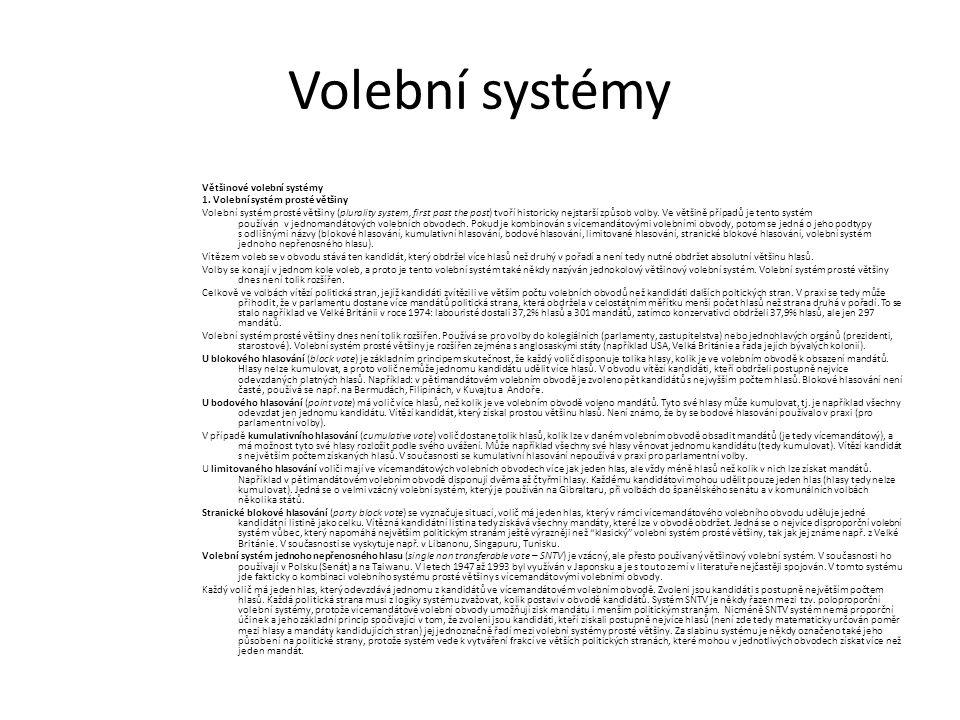 Volební systémy Většinové volební systémy 1. Volební systém prosté většiny Volební systém prosté většiny (plurality system, first past the post) tvoří