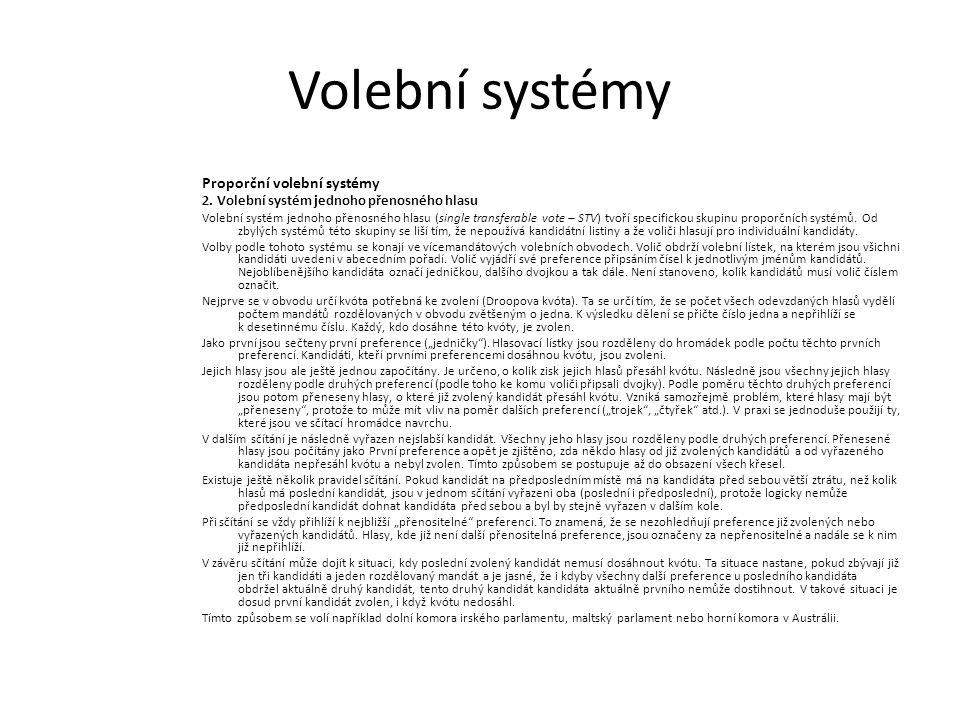 Volební systémy Proporční volební systémy 2. Volební systém jednoho přenosného hlasu Volební systém jednoho přenosného hlasu (single transferable vote