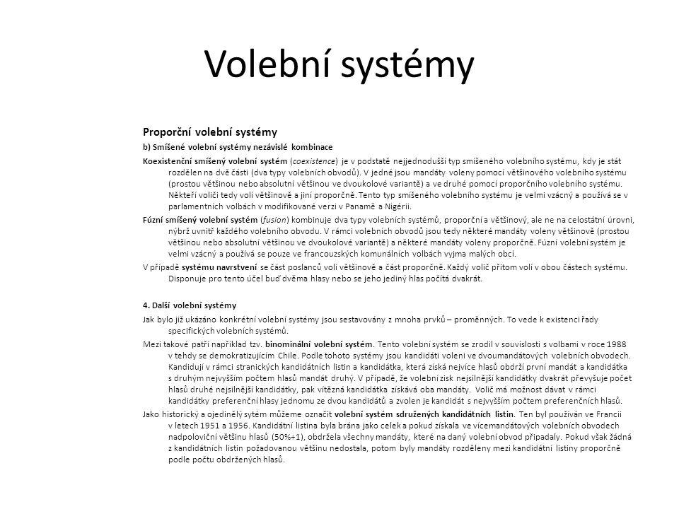 Volební systémy Proporční volební systémy b) Smíšené volební systémy nezávislé kombinace Koexistenční smíšený volební systém (coexistence) je v podstatě nejjednodušší typ smíšeného volebního systému, kdy je stát rozdělen na dvě části (dva typy volebních obvodů).