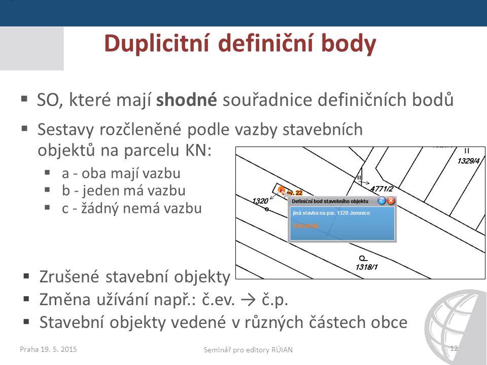 12  SO, které mají shodné souřadnice definičních bodů  Sestavy rozčleněné podle vazby stavebních objektů na parcelu KN:  a - oba mají vazbu  b - jeden má vazbu  c - žádný nemá vazbu  Zrušené stavební objekty  Změna užívání např.: č.ev.