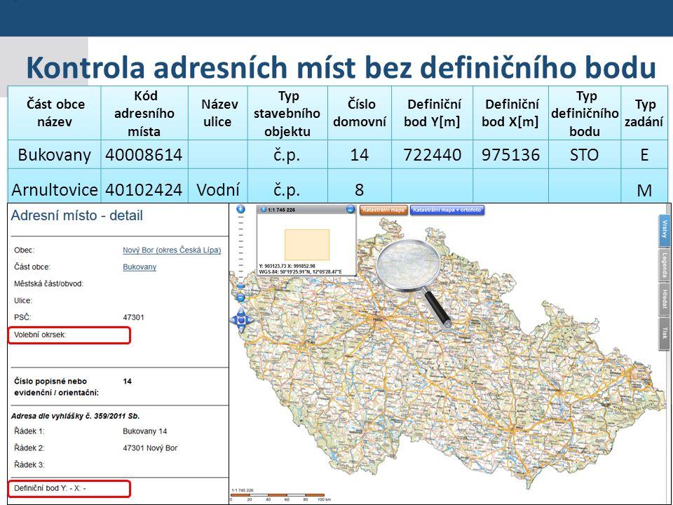 Praha 19. 5. 2015 23 Seminář pro editory RÚIAN Kontrola adresních míst bez definičního bodu