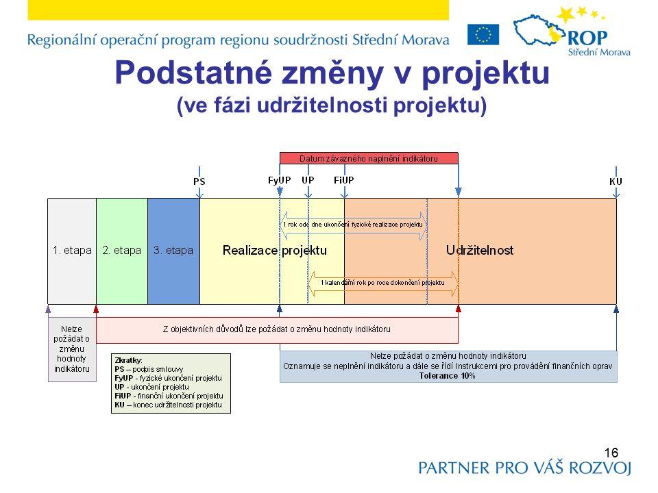 Podstatné změny v projektu (ve fázi udržitelnosti projektu) 16