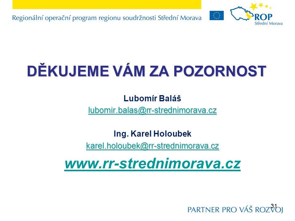 DĚKUJEME VÁM ZA POZORNOST Lubomír Baláš lubomir.balas@rr-strednimorava.cz Ing.