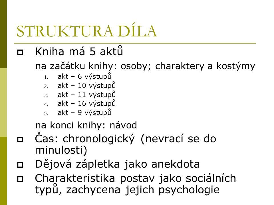 STRUKTURA DÍLA  Kniha má 5 aktů na začátku knihy: osoby; charaktery a kostýmy 1.