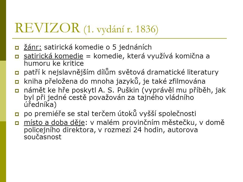 Obálka prvního vydání Revizora z roku 1836