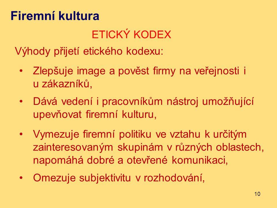 Firemní kultura ETICKÝ KODEX 10 Výhody přijetí etického kodexu: Zlepšuje image a pověst firmy na veřejnosti i u zákazníků, Dává vedení i pracovníkům n