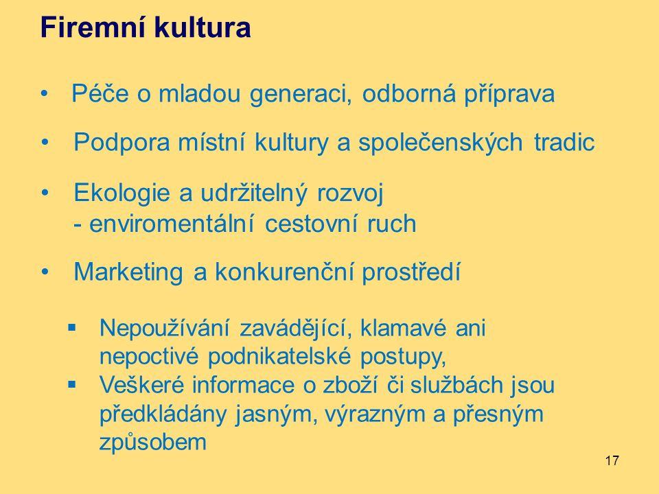 Firemní kultura Péče o mladou generaci, odborná příprava 17 Podpora místní kultury a společenských tradic Ekologie a udržitelný rozvoj - enviromentáln