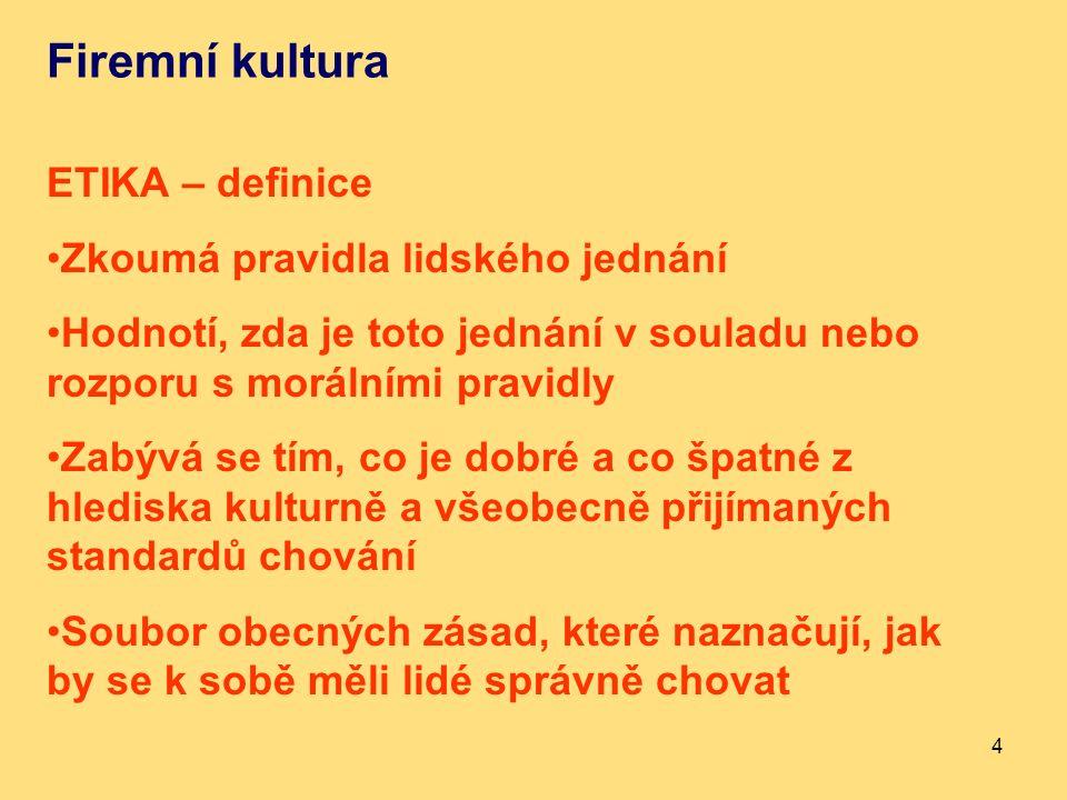 Firemní kultura ETIKA – definice Zkoumá pravidla lidského jednání Hodnotí, zda je toto jednání v souladu nebo rozporu s morálními pravidly Zabývá se tím, co je dobré a co špatné z hlediska kulturně a všeobecně přijímaných standardů chování Soubor obecných zásad, které naznačují, jak by se k sobě měli lidé správně chovat 4