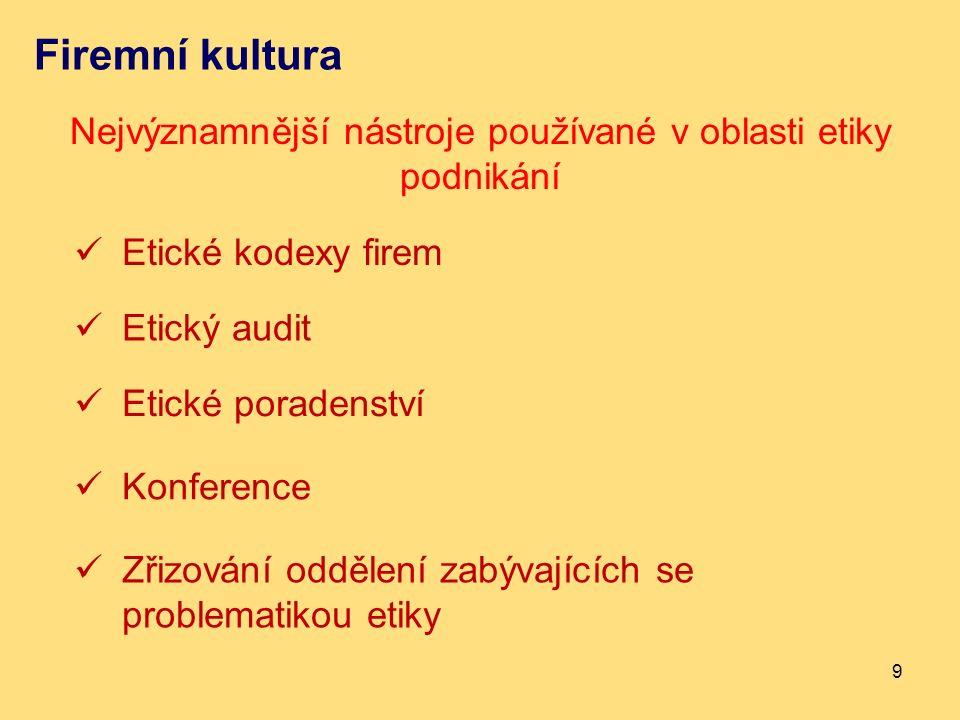 Firemní kultura Nejvýznamnější nástroje používané v oblasti etiky podnikání 9 Etické kodexy firem Etický audit Etické poradenství Konference Zřizování oddělení zabývajících se problematikou etiky