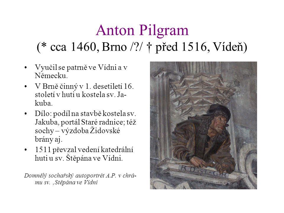 Anton Pilgram (* cca 1460, Brno / / † před 1516, Vídeň) Vyučil se patrně ve Vídni a v Německu.