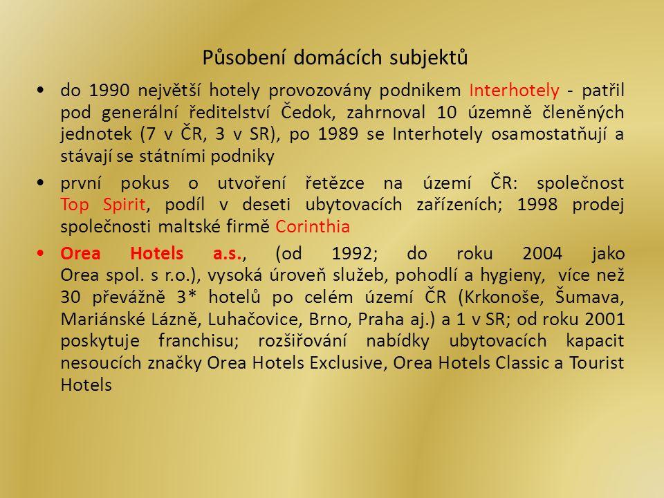 Působení domácích subjektů do 1990 největší hotely provozovány podnikem Interhotely - patřil pod generální ředitelství Čedok, zahrnoval 10 územně členěných jednotek (7 v ČR, 3 v SR), po 1989 se Interhotely osamostatňují a stávají se státními podniky první pokus o utvoření řetězce na území ČR: společnost Top Spirit, podíl v deseti ubytovacích zařízeních; 1998 prodej společnosti maltské firmě Corinthia Orea Hotels a.s., (od 1992; do roku 2004 jako Orea spol.