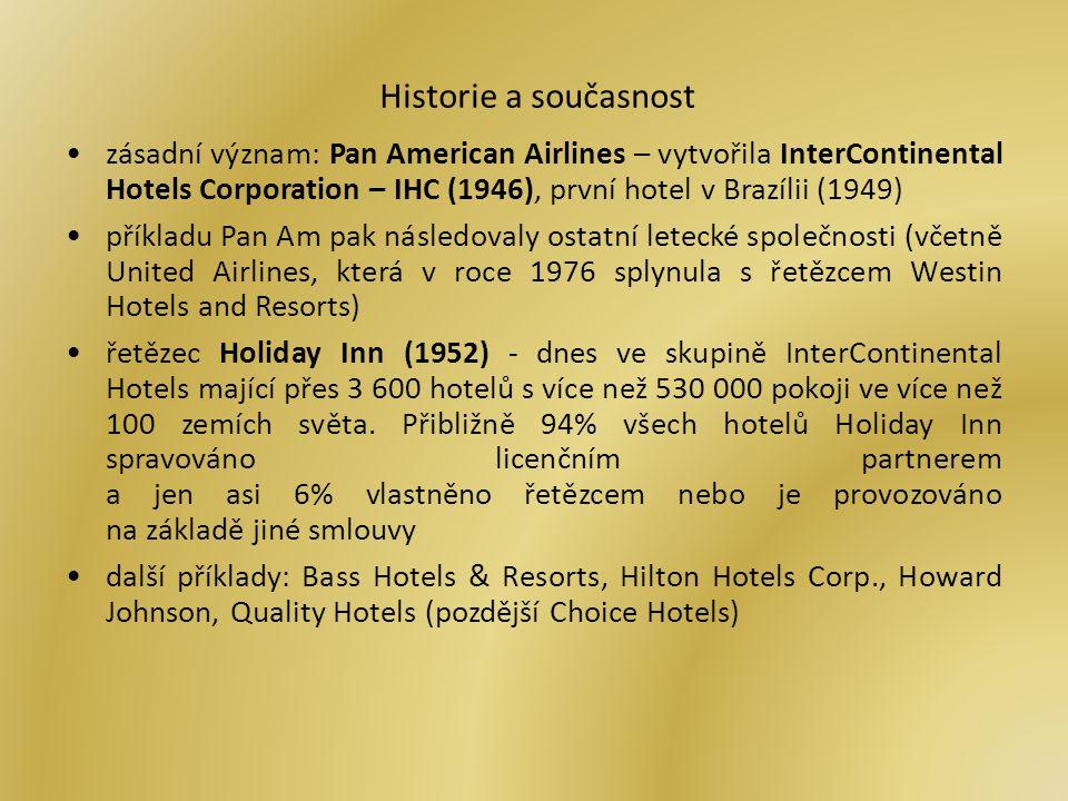Historie a současnost zásadní význam: Pan American Airlines – vytvořila InterContinental Hotels Corporation – IHC (1946), první hotel v Brazílii (1949) příkladu Pan Am pak následovaly ostatní letecké společnosti (včetně United Airlines, která v roce 1976 splynula s řetězcem Westin Hotels and Resorts) řetězec Holiday Inn (1952) - dnes ve skupině InterContinental Hotels mající přes 3 600 hotelů s více než 530 000 pokoji ve více než 100 zemích světa.