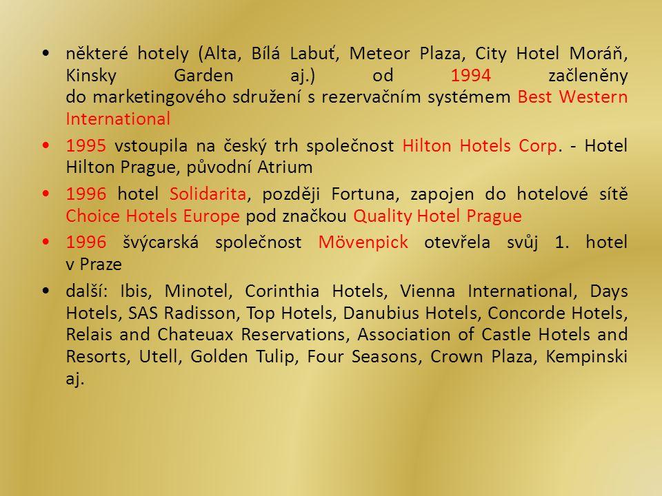 některé hotely (Alta, Bílá Labuť, Meteor Plaza, City Hotel Moráň, Kinsky Garden aj.) od 1994 začleněny do marketingového sdružení s rezervačním systémem Best Western International 1995 vstoupila na český trh společnost Hilton Hotels Corp.