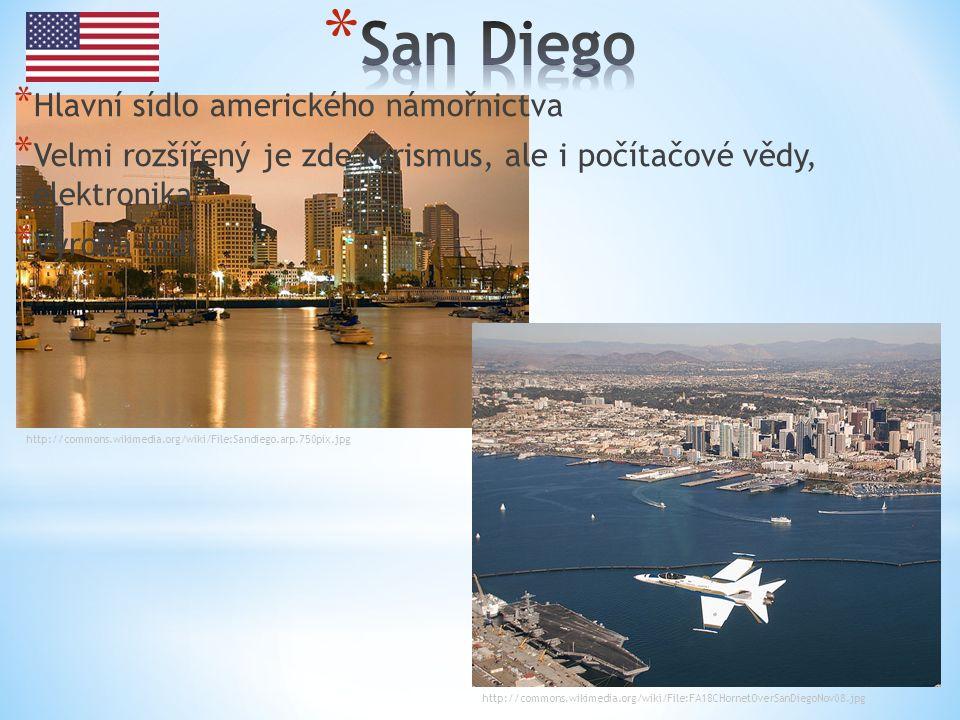 http://commons.wikimedia.org/wiki/File:Sandiego.arp.750pix.jpg http://commons.wikimedia.org/wiki/File:FA18CHornetOverSanDiegoNov08.jpg * Hlavní sídlo amerického námořnictva * Velmi rozšířený je zde turismus, ale i počítačové vědy, elektronika * Výroba lodí