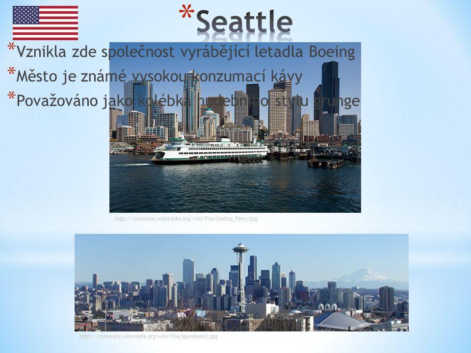 http://commons.wikimedia.org/wiki/File:Seattle_Ferry.jpg http://commons.wikimedia.org/wiki/File:Spanoramic.jpg * Vznikla zde společnost vyrábějící letadla Boeing * Město je známé vysokou konzumací kávy * Považováno jako kolébka hudebního stylu grunge