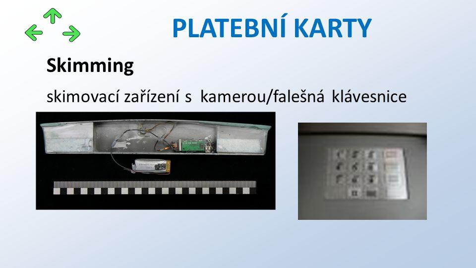 PLATEBNÍ KARTY Skimming skimovací zařízení s kamerou/falešná klávesnice