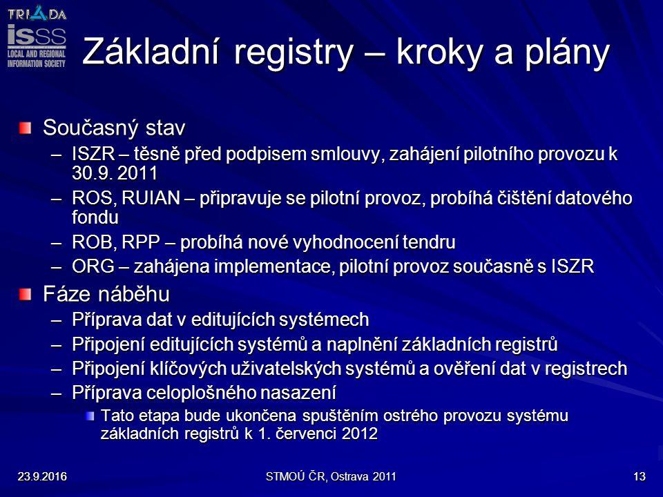 23.9.2016STMOÚ ČR, Ostrava 20111323.9.201613 Základní registry – kroky a plány Současný stav –ISZR – těsně před podpisem smlouvy, zahájení pilotního provozu k 30.9.