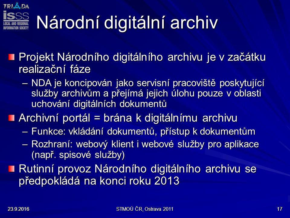 23.9.2016STMOÚ ČR, Ostrava 20111723.9.201617 Národní digitální archiv Projekt Národního digitálního archivu je v začátku realizační fáze –NDA je konci