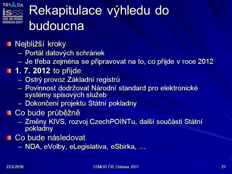 23.9.2016STMOÚ ČR, Ostrava 20112123.9.201621 Rekapitulace výhledu do budoucna Nejbližší kroky –Portál datových schránek –Je třeba zejména se připravovat na to, co přijde v roce 2012 1.