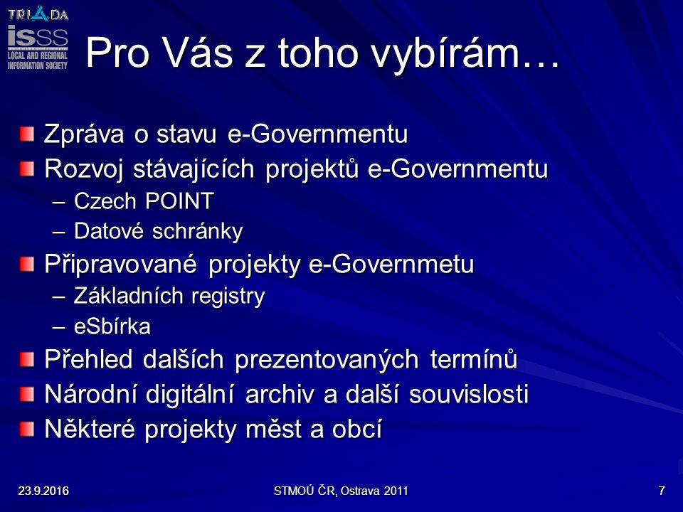 23.9.2016STMOÚ ČR, Ostrava 2011723.9.20167 Pro Vás z toho vybírám… Zpráva o stavu e-Governmentu Rozvoj stávajících projektů e-Governmentu –Czech POINT