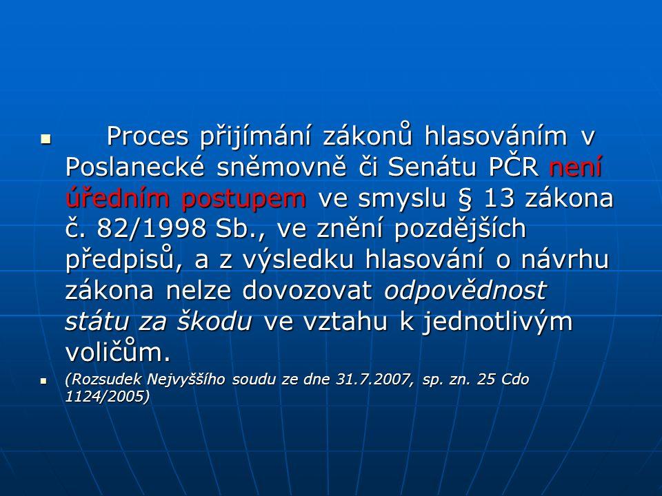 Proces přijímání zákonů hlasováním v Poslanecké sněmovně či Senátu PČR není úředním postupem ve smyslu § 13 zákona č. 82/1998 Sb., ve znění pozdějších