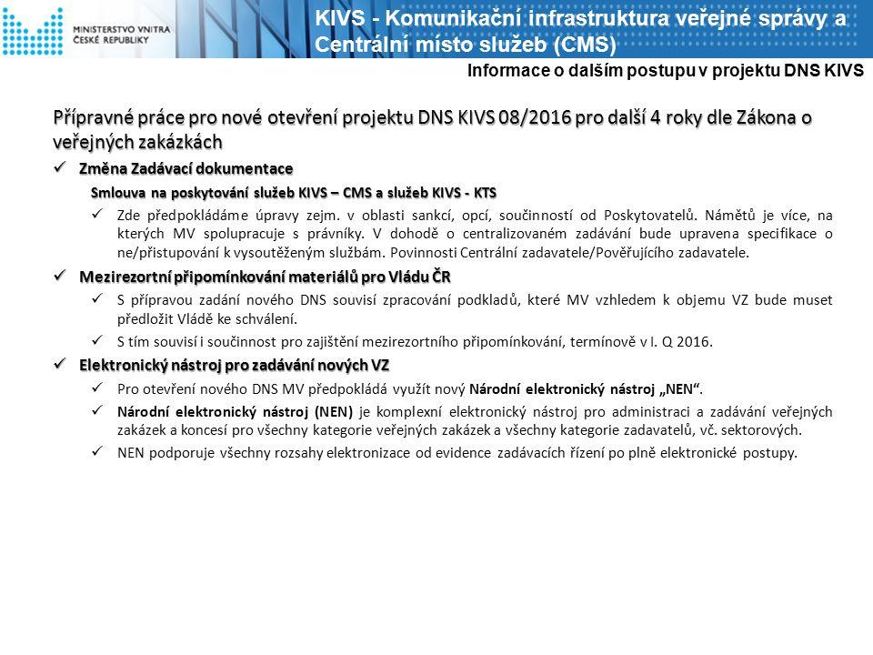 Přípravné práce pro nové otevření projektu DNS KIVS 08/2016 pro další 4 roky dle Zákona o veřejných zakázkách Změna Zadávací dokumentace Změna Zadávac