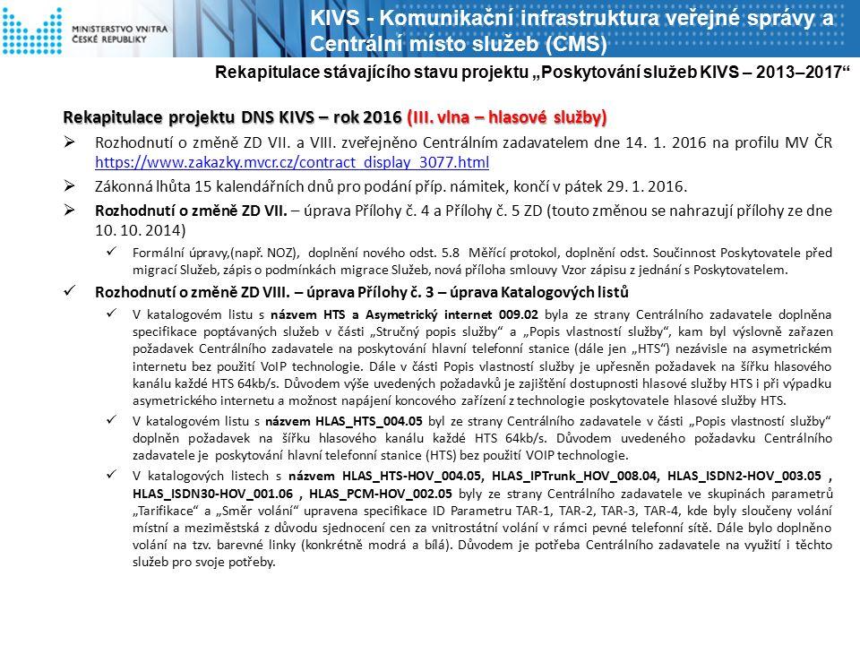 Rekapitulace projektu DNS KIVS – rok 2016 (III. vlna – hlasové služby)  Rozhodnutí o změně ZD VII. a VIII. zveřejněno Centrálním zadavatelem dne 14.