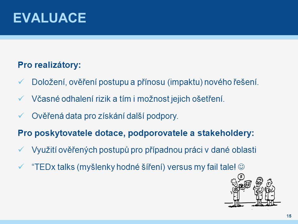 EVALUACE 15 Pro realizátory: Doložení, ověření postupu a přínosu (impaktu) nového řešení.
