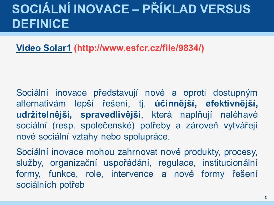 SOCIÁLNÍ INOVACE – PŘÍKLAD VERSUS DEFINICE Video Solar1Video Solar1 (http://www.esfcr.cz/file/9834/) Sociální inovace představují nové a oproti dostupným alternativám lepší řešení, tj.