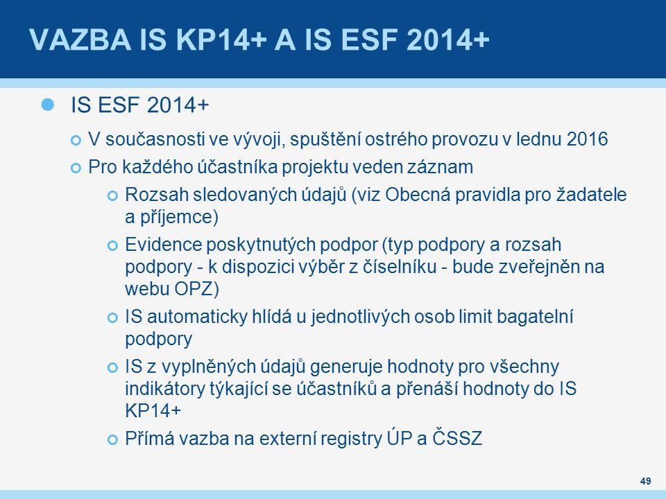 VAZBA IS KP14+ A IS ESF 2014+ IS ESF 2014+ V současnosti ve vývoji, spuštění ostrého provozu v lednu 2016 Pro každého účastníka projektu veden záznam Rozsah sledovaných údajů (viz Obecná pravidla pro žadatele a příjemce) Evidence poskytnutých podpor (typ podpory a rozsah podpory - k dispozici výběr z číselníku - bude zveřejněn na webu OPZ) IS automaticky hlídá u jednotlivých osob limit bagatelní podpory IS z vyplněných údajů generuje hodnoty pro všechny indikátory týkající se účastníků a přenáší hodnoty do IS KP14+ Přímá vazba na externí registry ÚP a ČSSZ 49