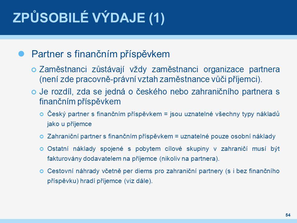 ZPŮSOBILÉ VÝDAJE (1) Partner s finančním příspěvkem Zaměstnanci zůstávají vždy zaměstnanci organizace partnera (není zde pracovně-právní vztah zaměstnance vůči příjemci).