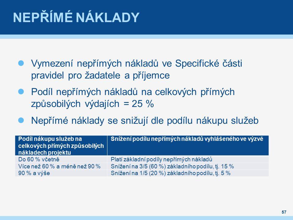 NEPŘÍMÉ NÁKLADY Vymezení nepřímých nákladů ve Specifické části pravidel pro žadatele a příjemce Podíl nepřímých nákladů na celkových přímých způsobilých výdajích = 25 % Nepřímé náklady se snižují dle podílu nákupu služeb 57 Podíl nákupu služeb na celkových přímých způsobilých nákladech projektu Snížení podílu nepřímých nákladů vyhlášeného ve výzvě Do 60 % včetněPlatí základní podíly nepřímých nákladů Více než 60 % a méně než 90 %Snížení na 3/5 (60 %) základního podílu, tj.