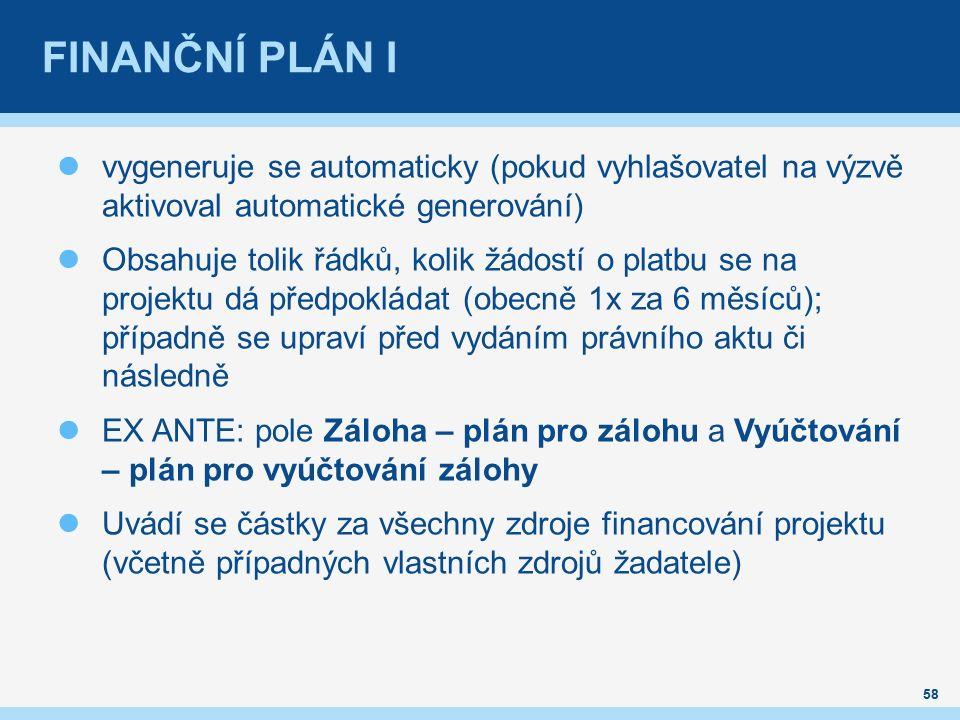 FINANČNÍ PLÁN I vygeneruje se automaticky (pokud vyhlašovatel na výzvě aktivoval automatické generování) Obsahuje tolik řádků, kolik žádostí o platbu se na projektu dá předpokládat (obecně 1x za 6 měsíců); případně se upraví před vydáním právního aktu či následně EX ANTE: pole Záloha – plán pro zálohu a Vyúčtování – plán pro vyúčtování zálohy Uvádí se částky za všechny zdroje financování projektu (včetně případných vlastních zdrojů žadatele) 58