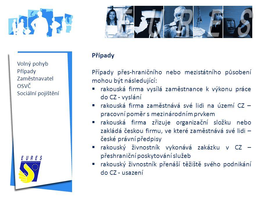 Úřad práce České republiky www.uradprace.cz Volný pohyb Případy Zaměstnavatel OSVČ Sociální pojištění